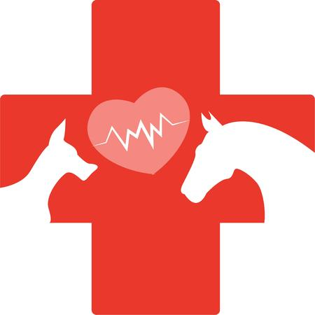 cruz roja: Una cruz roja animal es un gran logo de un veterinario. Vectores