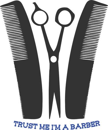 beautician: No barber can be without their scissors and combs.  This is a great graphic to decorate barber shop capes.