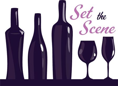 decanter: Wine bottles and stemware make a striking silhouette.  Add this graphic to bar linens or an apron for something different and memorable.