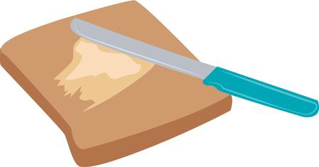 buttered: Have a nice piece of toast for breakfast. Illustration