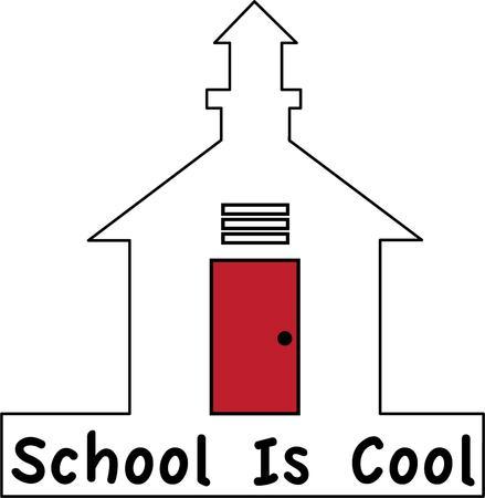 school house: Ponga una casa peque�a escuela dulce en una bolsa de libros. Vectores