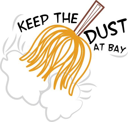 duster: Make housework fun with a duster on a work apron. Illustration