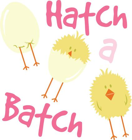 chick: Decorate an Easter project with a cute hatching chick. Illustration
