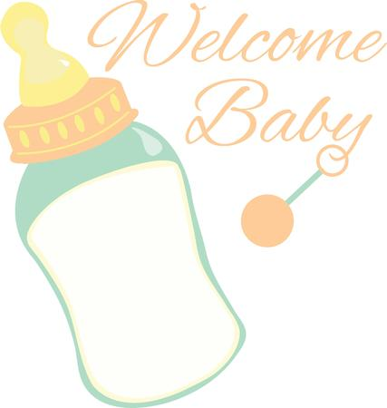 teat: Decorate a baby shower gift with a baby bottle.