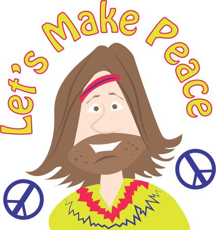 hippy: Rock your mind with this hippy man design. Illustration