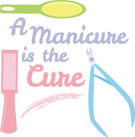 manicurista: Una manicura disfrutar�n de este dise�o como un logotipo.
