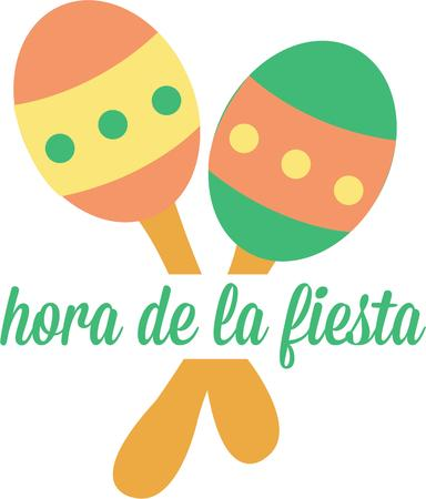 versatile: Spruce up your Mexican Fiesta with these bright and colorful Fiesta Maracas  A versatile design that offers endless possibilities on any project. Illustration