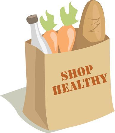 veggies: brown grocery bag sack lettuce eggplant carrot tomato apple squash vegetable veggies fruit Illustration