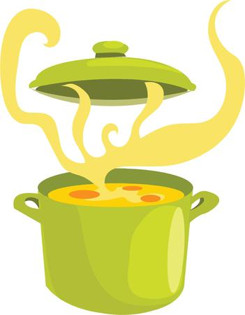 stew: Have a steaming pot of stew in your kitchen. Illustration
