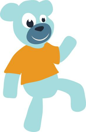 purely: Dance gives body and life to something purely mechanical.  Join the bear in a boogie with this design on personalized gifts for kids toddlers and babies. Illustration