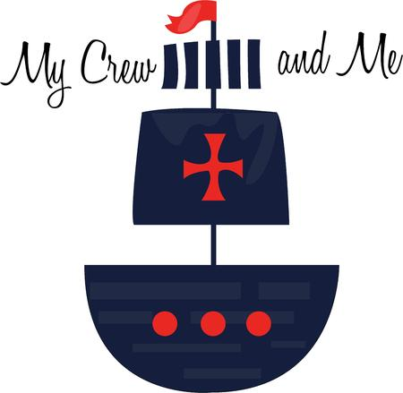 hoist: Join the crew while you hoist the sails, steer the ship and fire the cannons with this design on projects for the adventurous! Illustration