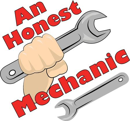 honest: A great design on carryalls sweatshirts jacket backs quilts wall hangings and anywhere else you can think of to recognize your favorite mechanic Illustration