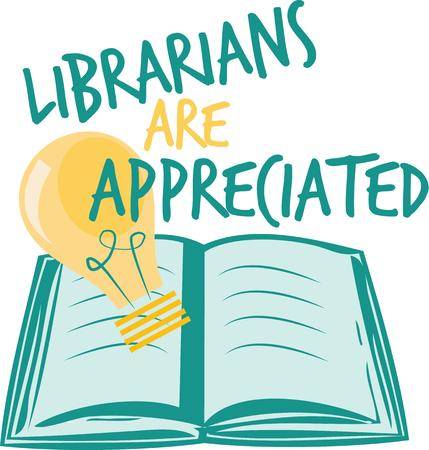 keepsake: Honor your librarian and make a great keepsake on framed embroidery tshirts sweatshirts towels and more. Illustration