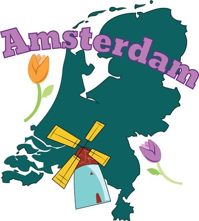 keepsake: Windmills and tulips an iconic part of the Dutch landscape with the outline of Netherlands will make a great keepsake on tshirts jackets sweatshirts hats and more