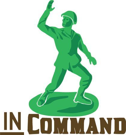 comandante: Fare un tributo perfetto ai soldati che proteggono con questo disegno nazionale orgoglio sui vostri progetti. Vettoriali