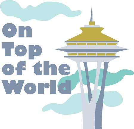 space needle: Show pride for your favorite city and make a great keepsake with this design on t-shirts, jackets, sweatshirts, hats and more!