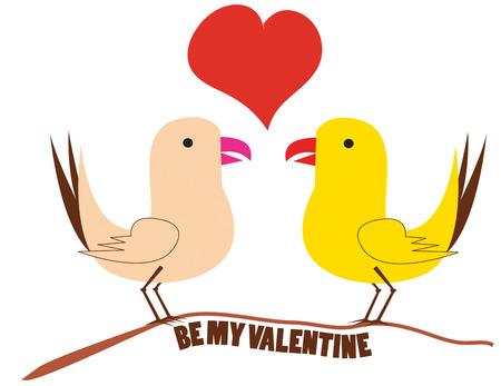 animal lover: Estas dos aves han encontrado entre s� que han encontrado aves amor amor hacen una felicitaci�n de San Valent�n estupenda para cualquier amante de los animales. Vectores