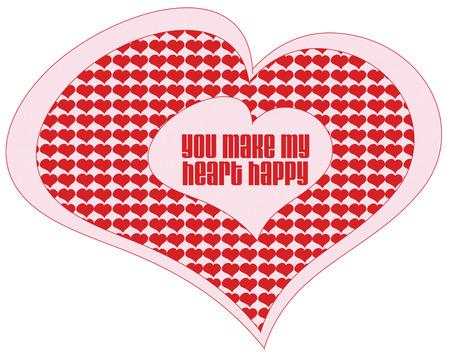 spachteln: Winzig kleine Herzen f�llen diesen gro�en Herzen. Sieht aus wie dieses Herz ist voller Liebe Entwurf schaut auf Kleidung oder Taschen Valentine Illustration