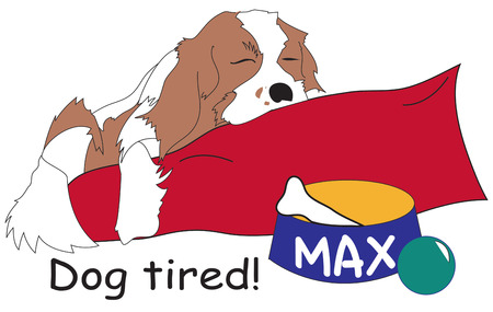 doggies: Our sweet furry friend snoozes on his soft doggie bed.  Add Max to a special creation for your doggie friend. Illustration