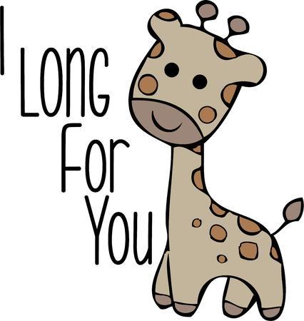 cuello largo: This cute giraffe will look great in a nursery. Vectores