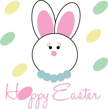 cottontail: Cute and fluffy bunny is ready for all the festivities This design will be fabulous on all your Easter projects Illustration