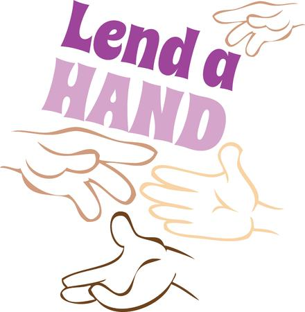 Tell the world to lend a helping hand. Vector