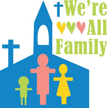 church family: Decorate a bible cover with a sweet church family.