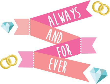 riband: Make a wedding special with a pretty banner. Illustration
