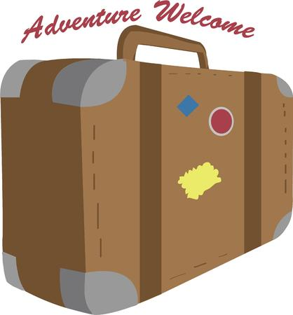 valise: Pack your bags and head out on an adventure.  This graphic is just the thing for travel industry functions. Illustration