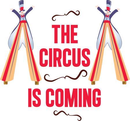 stilt: The stilt walker always brings a crowd at the circus. Illustration