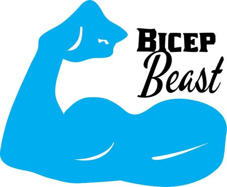 tricep: A flexing bicep muscle symbolizing strength.