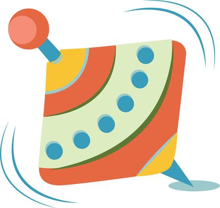 spinning: A colorful spinning top is a great decoration for a nursery. Illustration