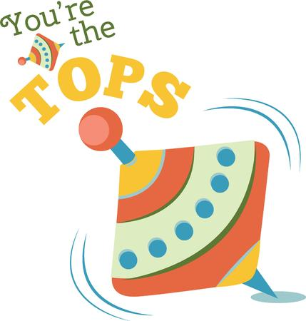 spinning top: A colorful spinning top is a great decoration for a nursery. Illustration
