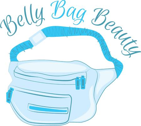 fanny: Grab your fanny pack and head off on your walk at the park.  The perfect image for your next design. Illustration