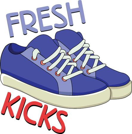 tennis shoe: Accessorize to your hearts desire.  Get these sneakers on your indoor projects and add personality to your style! Illustration