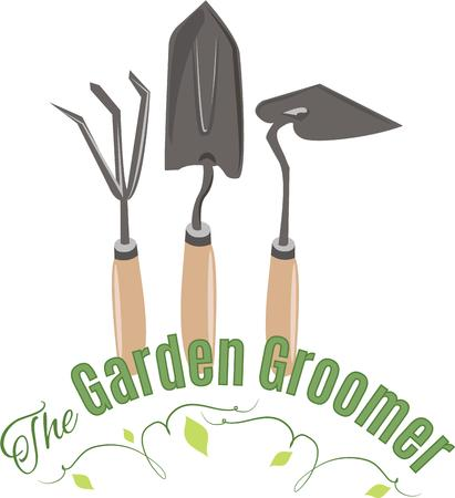 to tend: Tend to your garden right tools and have your neighbors envy your green masterpiece!  A great design on gardening aprons, t-shirts and more. Illustration