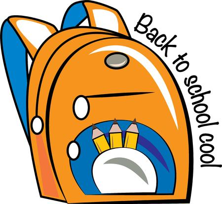 packsack: Kick off the school year with this adorable backpack design on pencil bags, back packs, t-shirts and more!