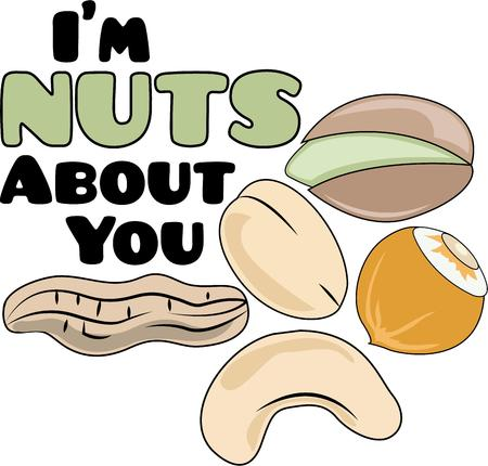 nutty: Its a nutty world out there!  Savor the flavors of everyday real food, fresh from the garden with this design on cozies, kitchen towels and more. Illustration