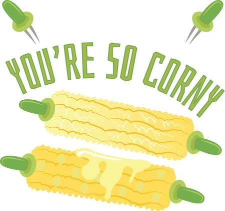 buttery: Few things say summer like sweet, buttery corn on the cob! Illustration