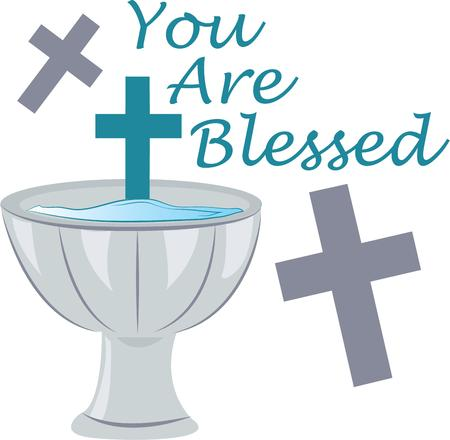 baptize: Commemorate a first holy communion with a keepsake pew banner or wall hanging with this design!