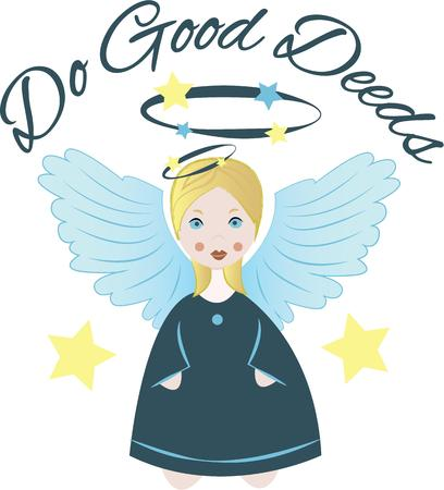 deeds: Embroider your personal angel for every occasion, with this design on sweaters, sweatshirts and more. Illustration