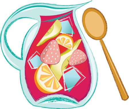 sangria: Quench your thirst on a hot day with this refreshing drink!  This design is perfect on all your summer celebrations such as kids birthday, baby shower, book club events and more! Illustration
