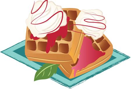 whip cream: For a special breakfast treat, theres nothing like freshly made steaming hot waffles doused in syrup.  A perfect design on tablecloths, kitchen linen and more!