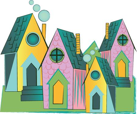 residential neighborhood: Make perfect housewarming gifts for the new nest, with this design on quilts, throw pillows, framed embroidery and more! Illustration