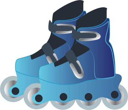 rollerblade: Grab your friends or family and lace up your skates! Take a spin on the rink with this design on clothes, towels, pillows, bags, t-shirts and jackets for your skater! Illustration