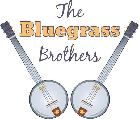 bluegrass: Rock on the wild side! Stitch this cool banjo design on shirts, bags, and more for your rock stars.