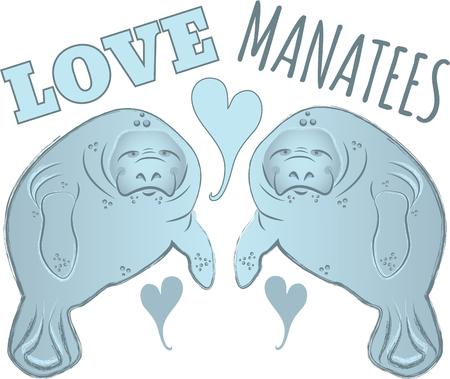 manatee: Saddle up for a close encounter with the seas most captivating creatures with this design on your home projects. Illustration