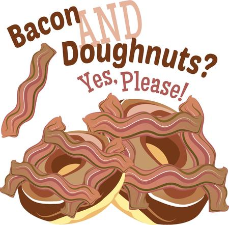 to decide: When you cant decide between savory and sweet, choose Bacon Donuts!  This design is perfect on kitchen linen, chef coats, apron and hats.
