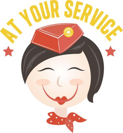 assist: The stewardess is trained in safety and to assist customers.  Give this design on a flight bag, t-shirt or apron to them.  They will love it!