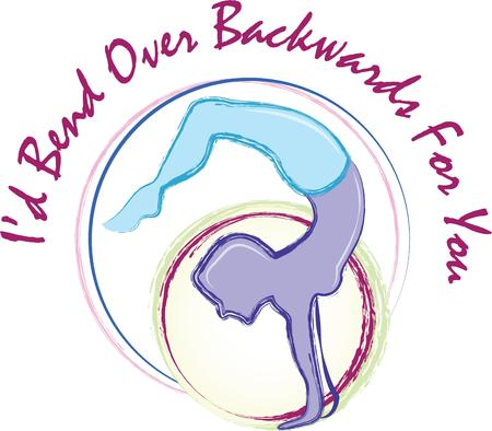 backwards: This gymnast doing a handstand is the perfect design for shirts, towels, equipment bags and more! This will make a perfect gift.